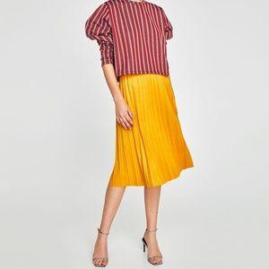Zara yellow faux suede pleated midi skirt